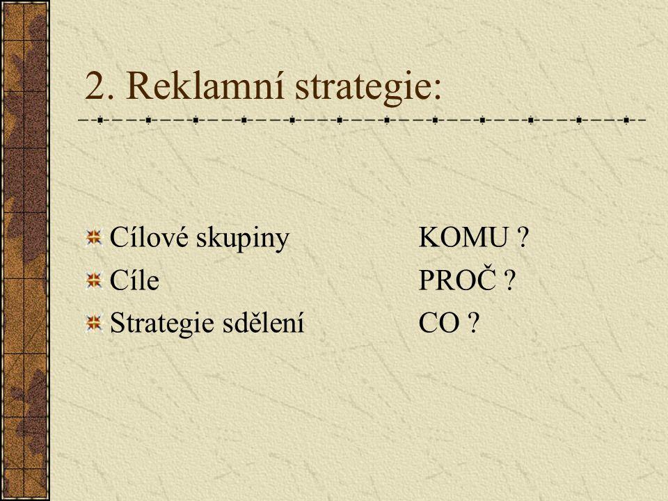 2. Reklamní strategie: Cílové skupinyKOMU ? CílePROČ ? Strategie sděleníCO ?