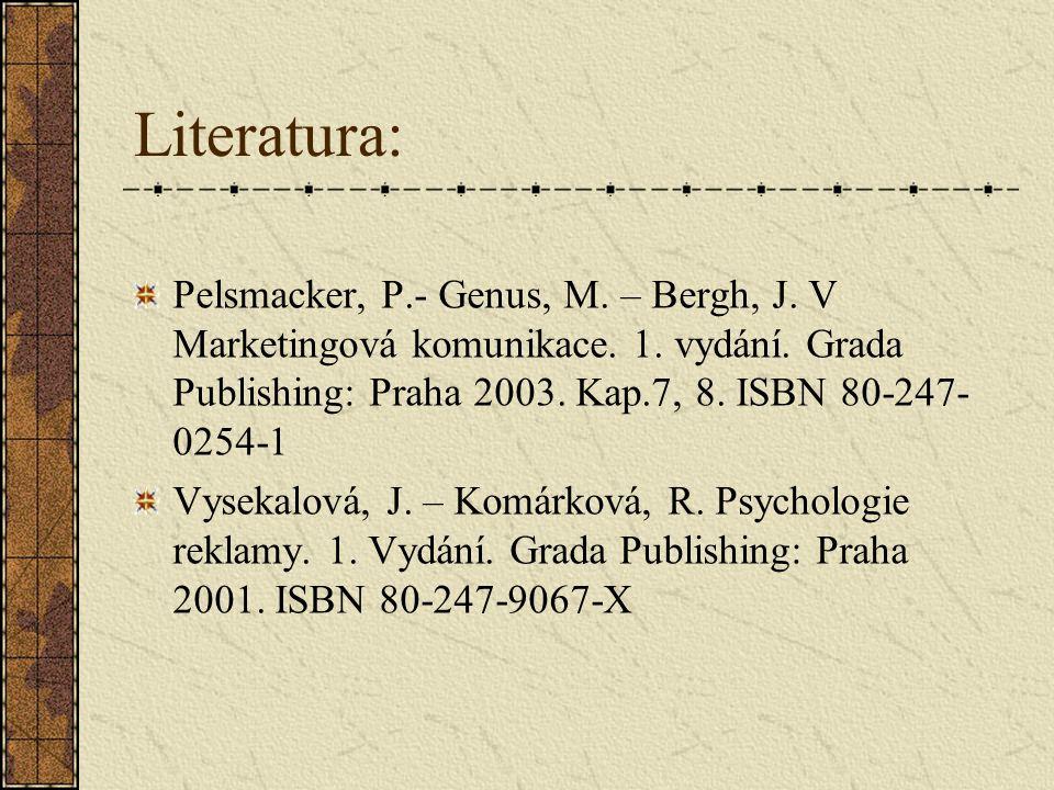 Literatura: Pelsmacker, P.- Genus, M.– Bergh, J. V Marketingová komunikace.