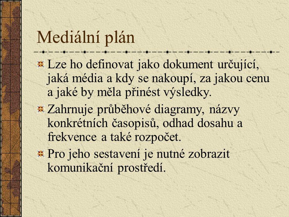 Mediální plán Lze ho definovat jako dokument určující, jaká média a kdy se nakoupí, za jakou cenu a jaké by měla přinést výsledky.