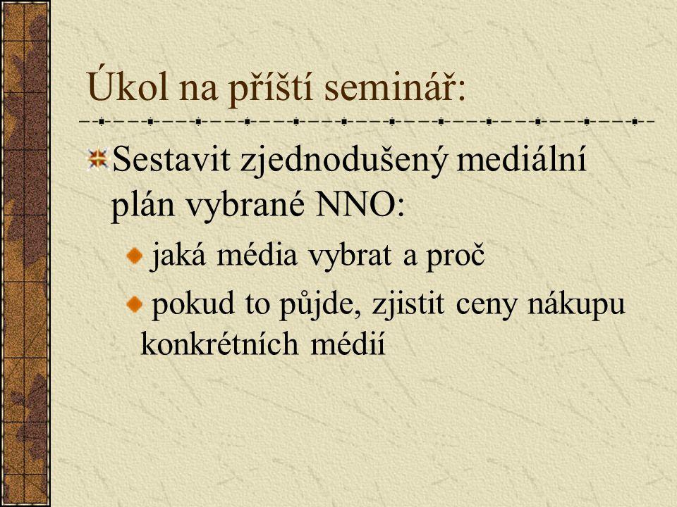 Úkol na příští seminář: Sestavit zjednodušený mediální plán vybrané NNO: jaká média vybrat a proč pokud to půjde, zjistit ceny nákupu konkrétních médií