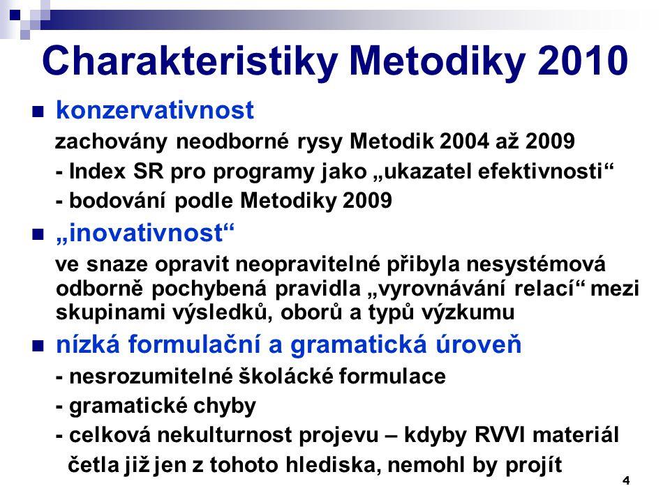 """4 Charakteristiky Metodiky 2010 konzervativnost zachovány neodborné rysy Metodik 2004 až 2009 - Index SR pro programy jako """"ukazatel efektivnosti - bodování podle Metodiky 2009 """"inovativnost ve snaze opravit neopravitelné přibyla nesystémová odborně pochybená pravidla """"vyrovnávání relací mezi skupinami výsledků, oborů a typů výzkumu nízká formulační a gramatická úroveň - nesrozumitelné školácké formulace - gramatické chyby - celková nekulturnost projevu – kdyby RVVI materiál četla již jen z tohoto hlediska, nemohl by projít"""