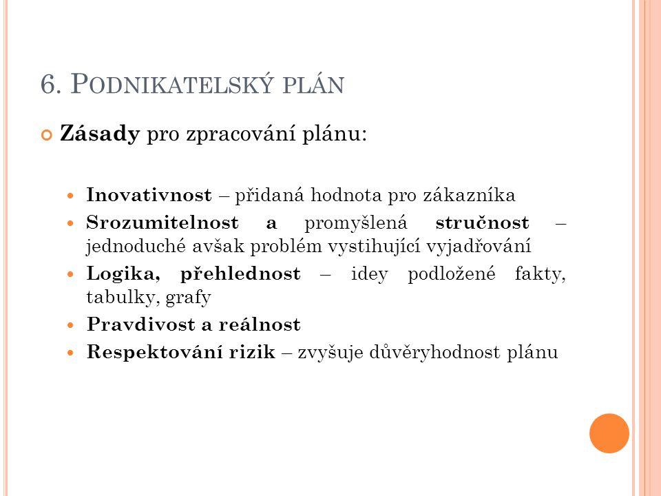 6. P ODNIKATELSKÝ PLÁN Zásady pro zpracování plánu: Inovativnost – přidaná hodnota pro zákazníka Srozumitelnost a promyšlená stručnost – jednoduché av