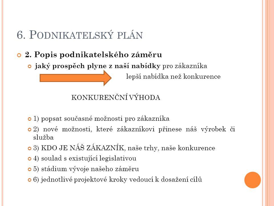 6. P ODNIKATELSKÝ PLÁN 2.