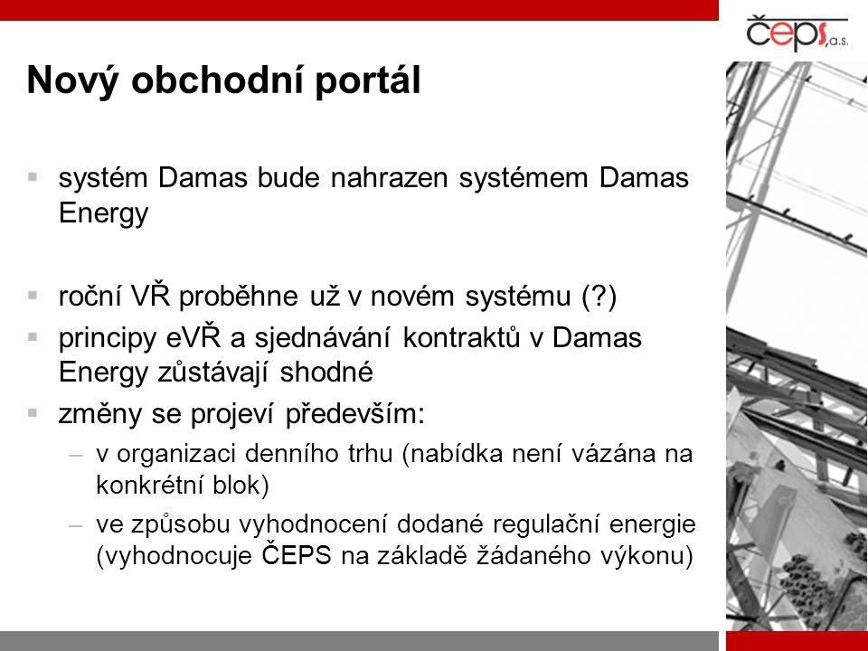 Nový obchodní portál  systém Damas bude nahrazen systémem Damas Energy  roční VŘ proběhne už v novém systému (?)  principy eVŘ a sjednávání kontraktů v Damas Energy zůstávají shodné  změny se projeví především: –v organizaci denního trhu (nabídka není vázána na konkrétní blok) –ve způsobu vyhodnocení dodané regulační energie (vyhodnocuje ČEPS na základě žádaného výkonu)