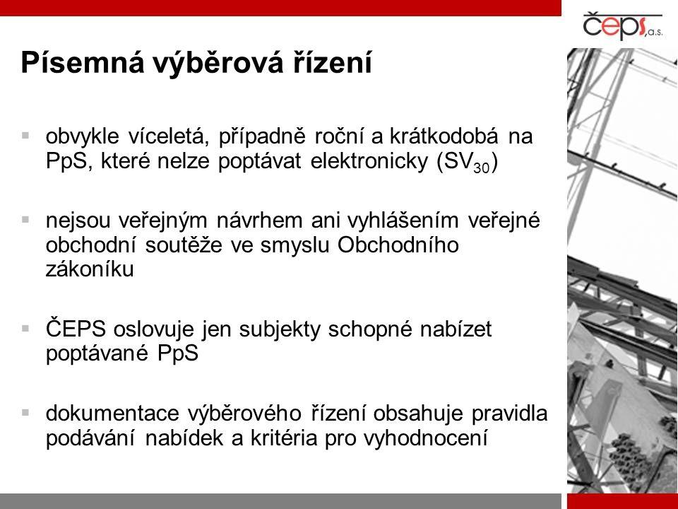 Přímé smlouvy s poskytovatelem  pokud ve VŘ nebyl nabídnut dostatečný objem nebo pokud cena překračovala cenu obvyklou  Vltava  sekundární regulace U/Q  schopnost startu ze tmy  schopnost ostrovního provozu  změna zatížení