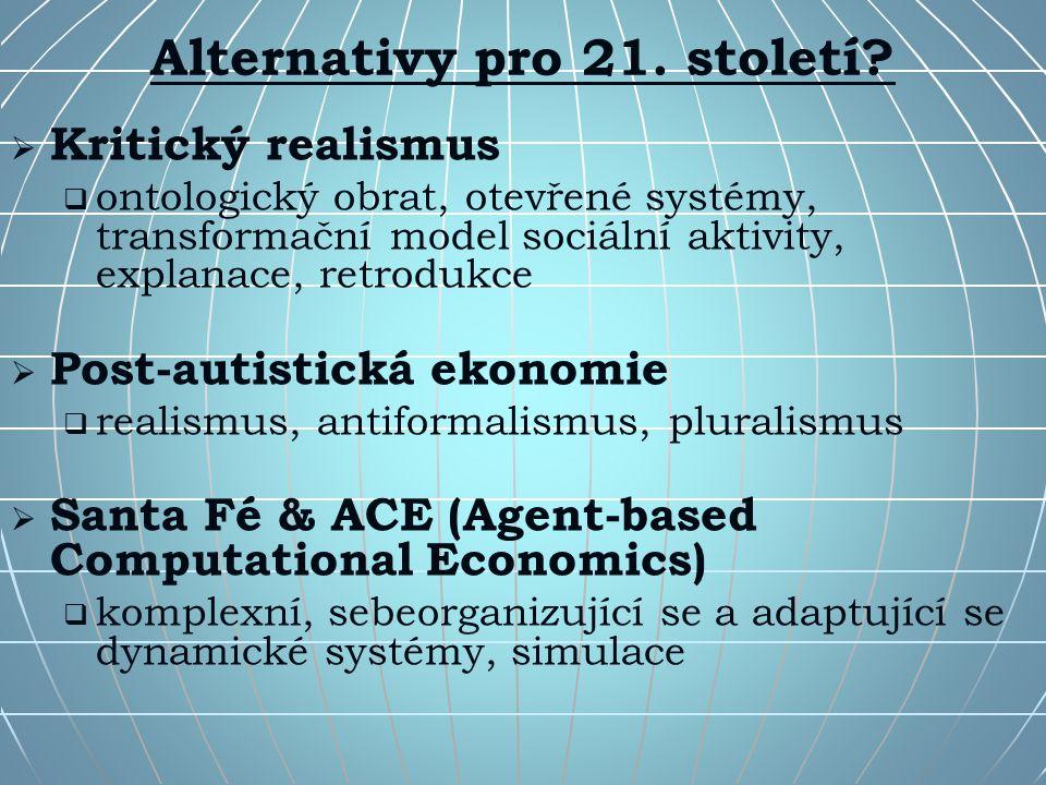Alternativy pro 21. století?   Kritický realismus   ontologický obrat, otevřené systémy, transformační model sociální aktivity, explanace, retrodu