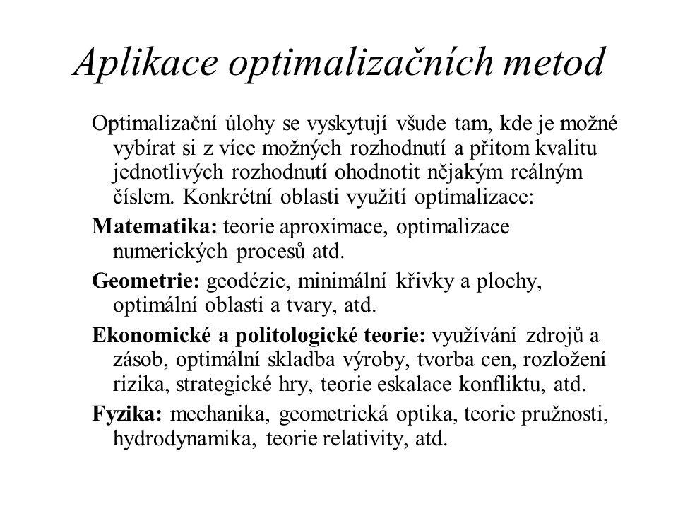 Aplikace optimalizačních metod Optimalizační úlohy se vyskytují všude tam, kde je možné vybírat si z více možných rozhodnutí a přitom kvalitu jednotli