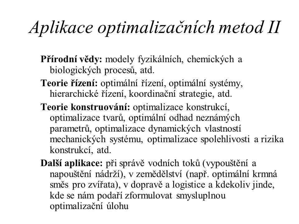 Aplikace optimalizačních metod II Přírodní vědy: modely fyzikálních, chemických a biologických procesů, atd. Teorie řízení: optimální řízení, optimáln