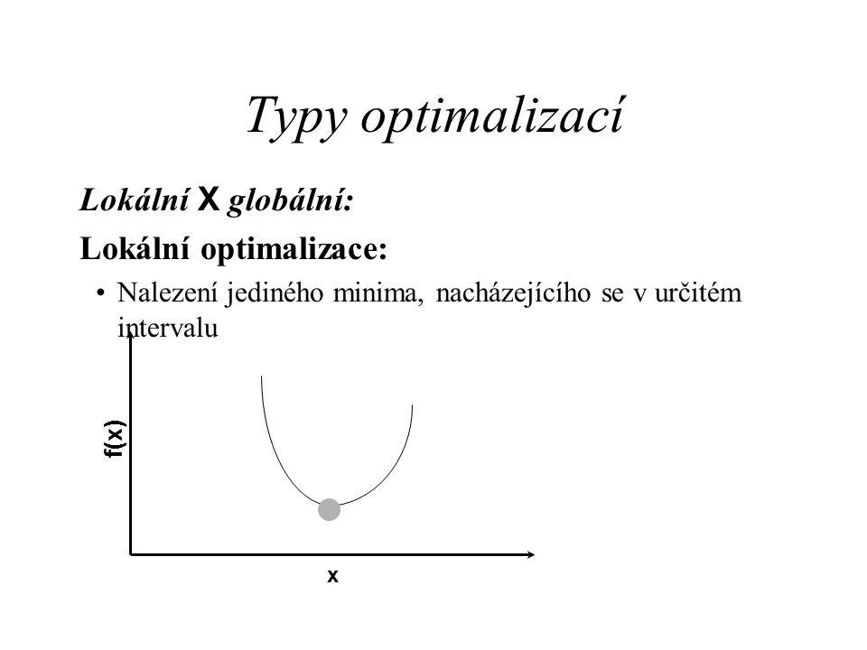 Typy optimalizací Lokální X globální: Lokální optimalizace: Nalezení jediného minima, nacházejícího se v určitém intervalu f(x) x