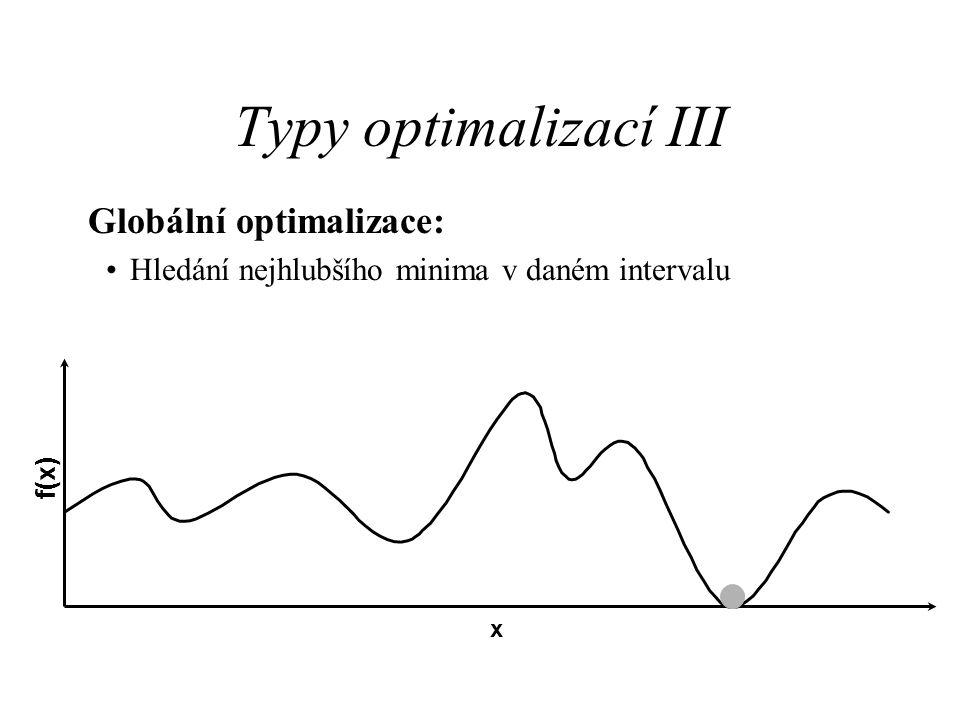 Typy optimalizací III Globální optimalizace: Hledání nejhlubšího minima v daném intervalu f(x) x