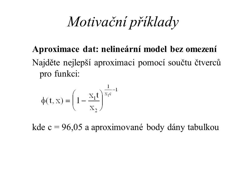 Motivační příklady Aproximace dat: nelineární model bez omezení Najděte nejlepší aproximaci pomocí součtu čtverců pro funkci: kde c = 96,05 a aproximo