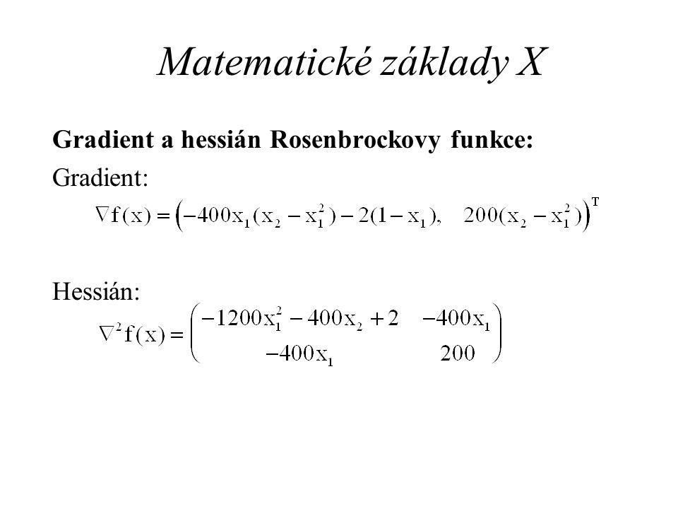 Matematické základy X Gradient a hessián Rosenbrockovy funkce: Gradient: Hessián: