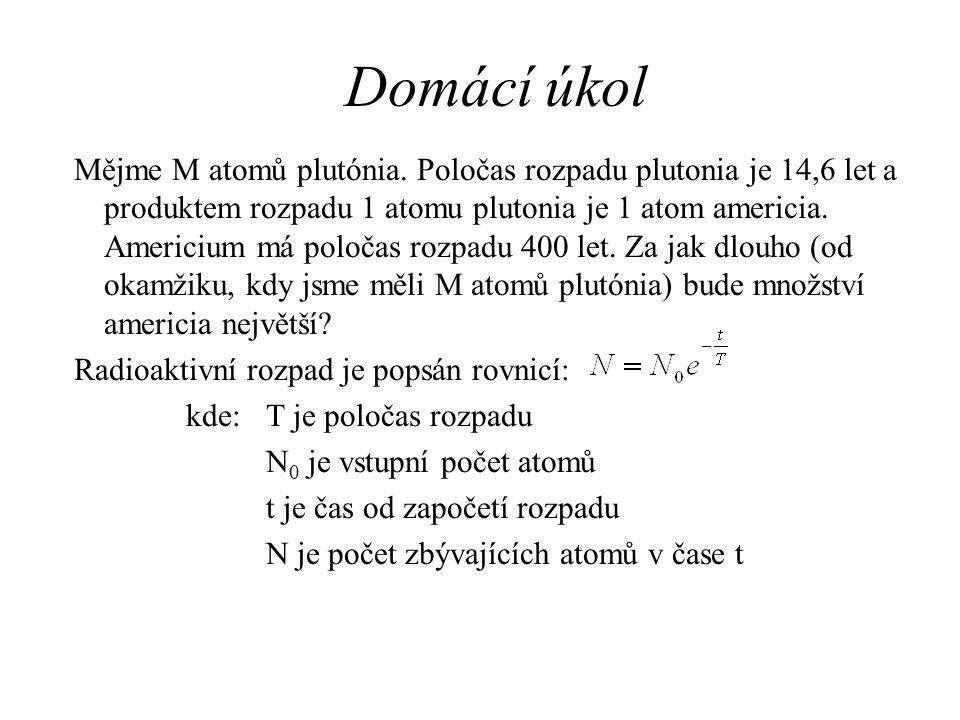 Domácí úkol Mějme M atomů plutónia. Poločas rozpadu plutonia je 14,6 let a produktem rozpadu 1 atomu plutonia je 1 atom americia. Americium má poločas