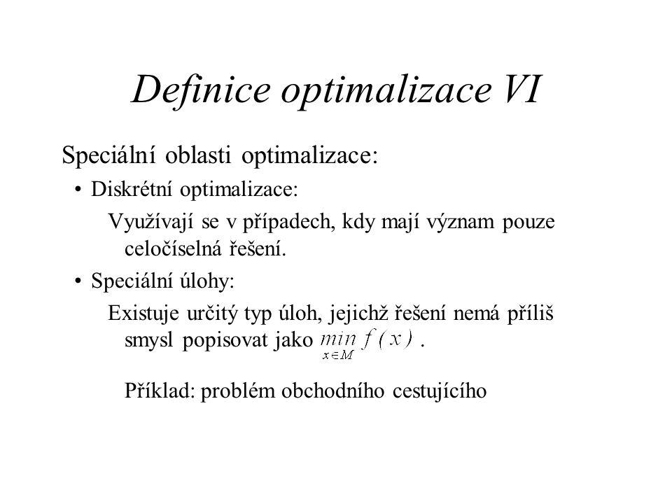 Definice optimalizace VI Speciální oblasti optimalizace: Diskrétní optimalizace: Využívají se v případech, kdy mají význam pouze celočíselná řešení. S