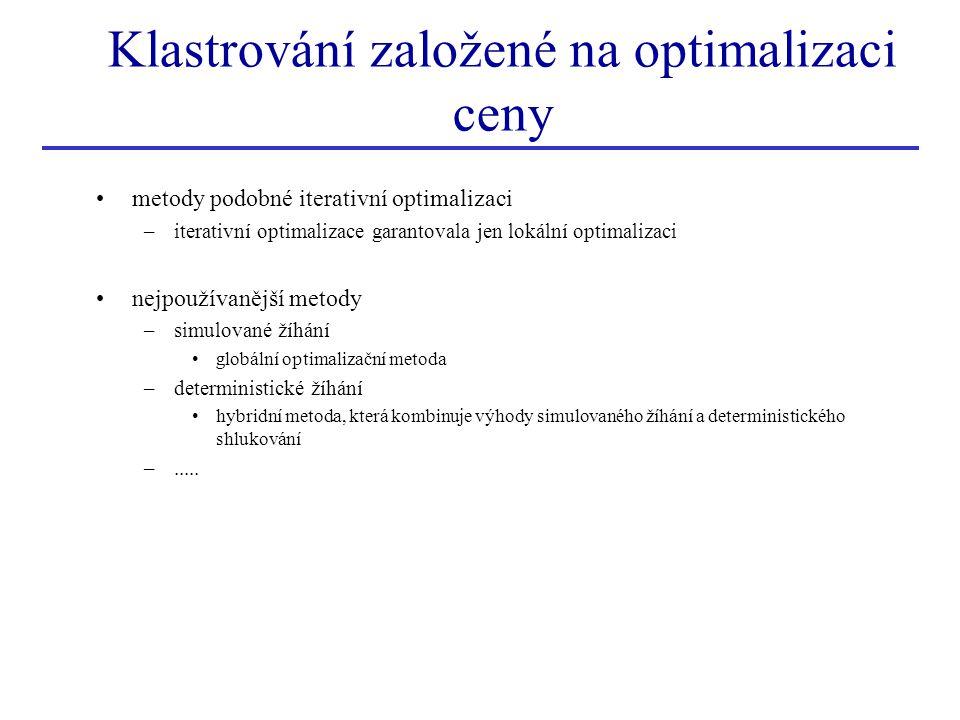 Klastrování založené na optimalizaci ceny metody podobné iterativní optimalizaci –iterativní optimalizace garantovala jen lokální optimalizaci nejpouž