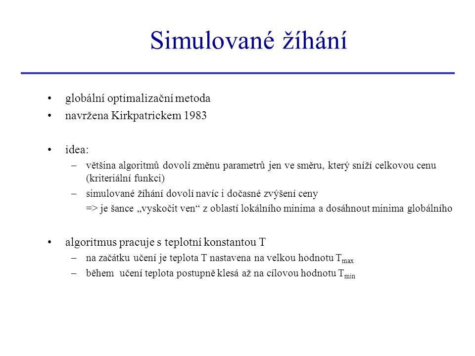 Simulované žíhání globální optimalizační metoda navržena Kirkpatrickem 1983 idea: –většina algoritmů dovolí změnu parametrů jen ve směru, který sníží