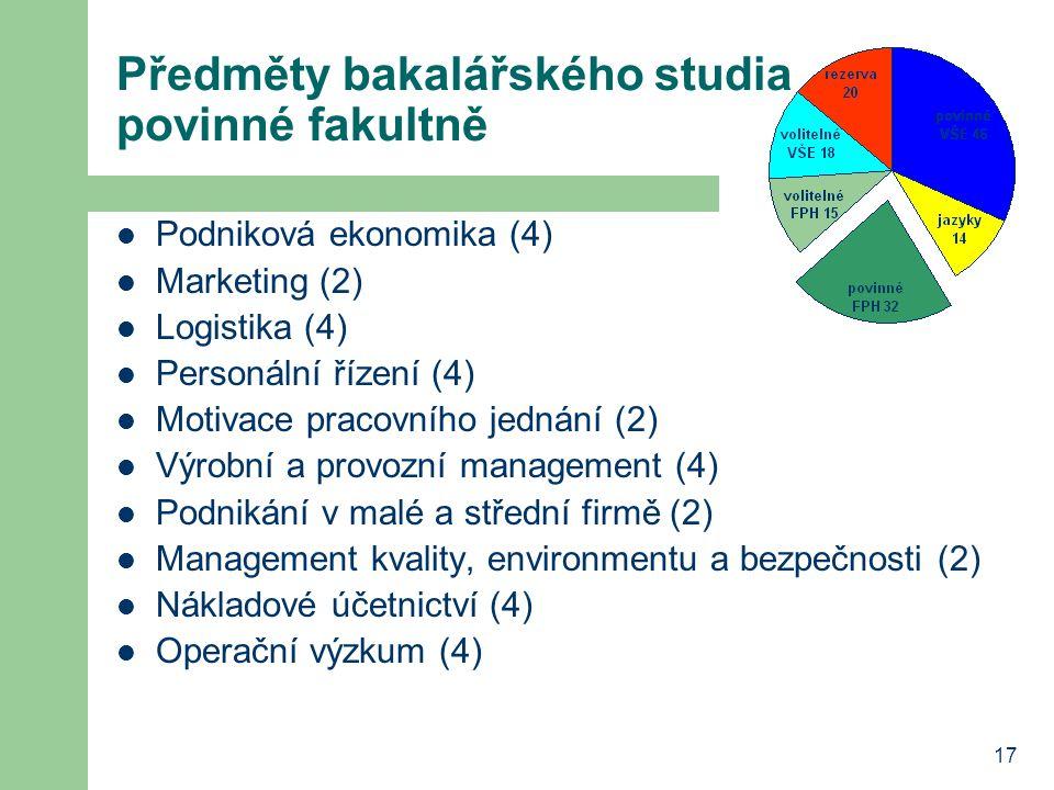 17 Předměty bakalářského studia povinné fakultně Podniková ekonomika (4) Marketing (2) Logistika (4) Personální řízení (4) Motivace pracovního jednání (2) Výrobní a provozní management (4) Podnikání v malé a střední firmě (2) Management kvality, environmentu a bezpečnosti (2) Nákladové účetnictví (4) Operační výzkum (4)