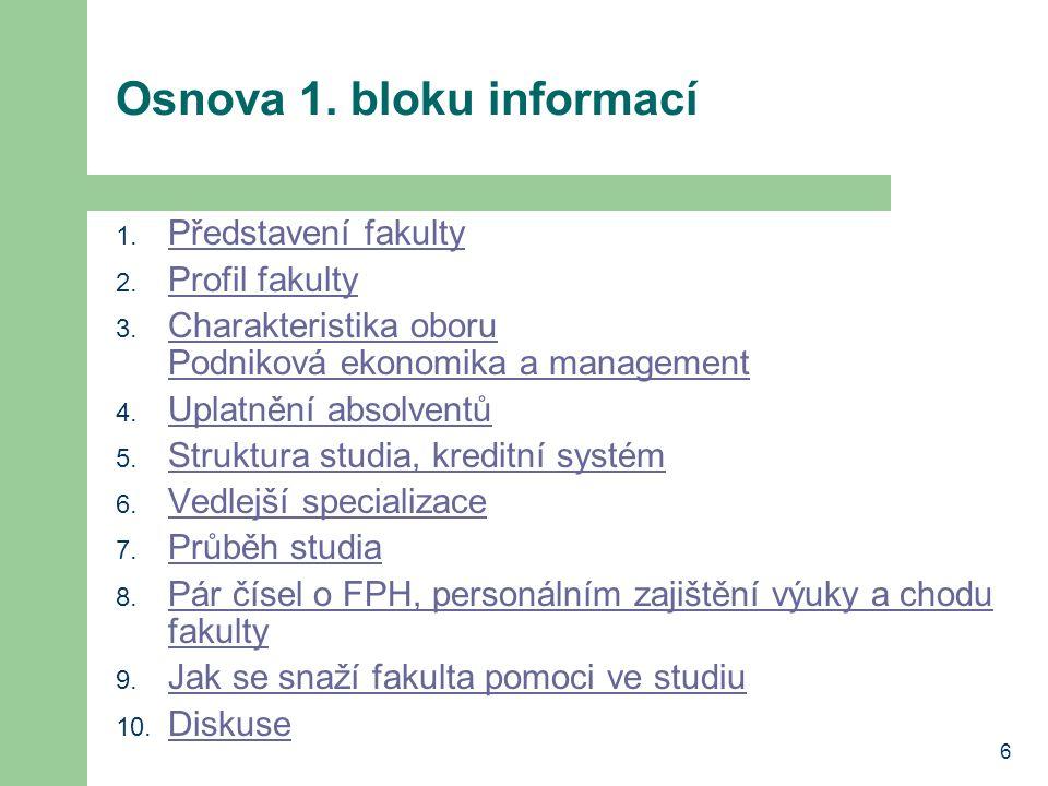 6 Osnova 1. bloku informací 1. Představení fakulty Představení fakulty 2.