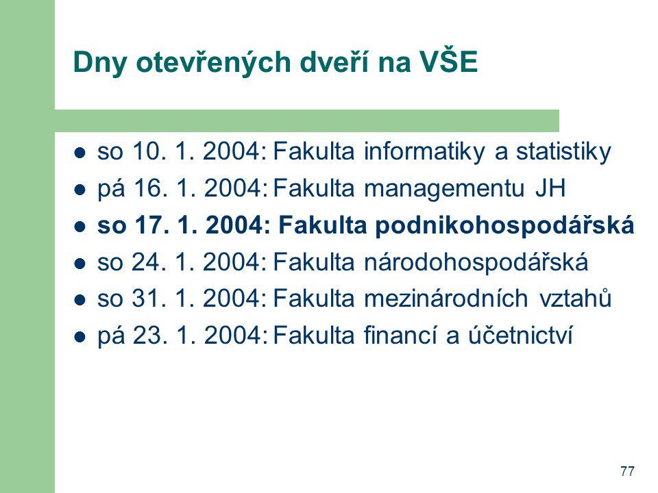 77 Dny otevřených dveří na VŠE so 10. 1. 2004:Fakulta informatiky a statistiky pá 16.