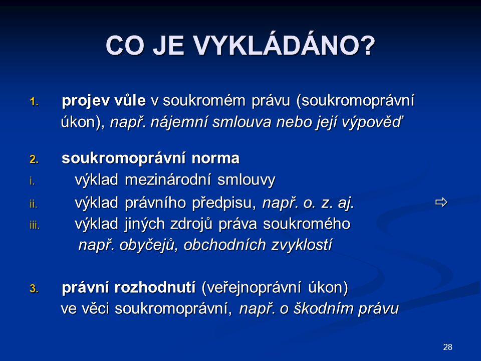 28 CO JE VYKLÁDÁNO.1. projev vůle v soukromém právu (soukromoprávní úkon), např.