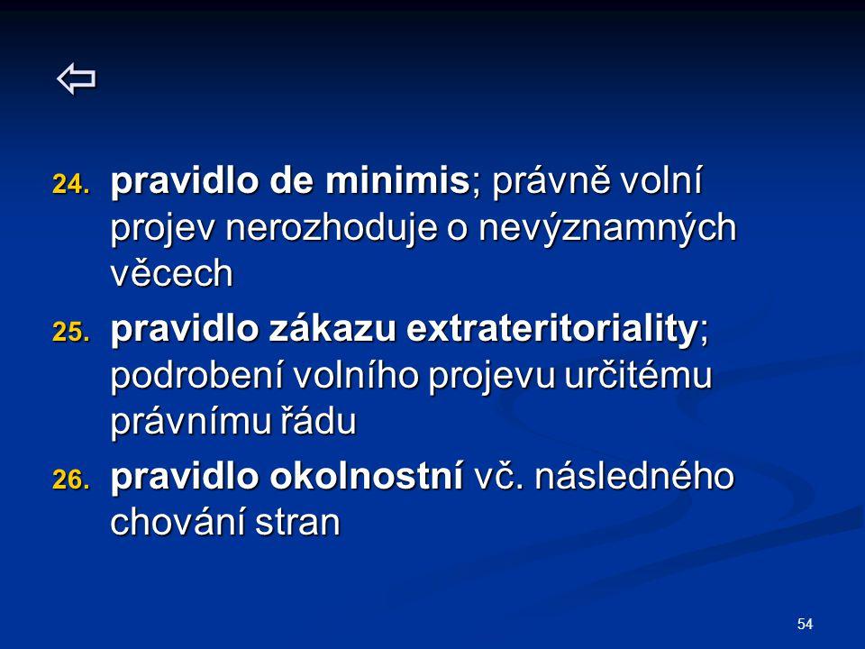 54  24. pravidlo de minimis; právně volní projev nerozhoduje o nevýznamných věcech 25. pravidlo zákazu extrateritoriality; podrobení volního projevu