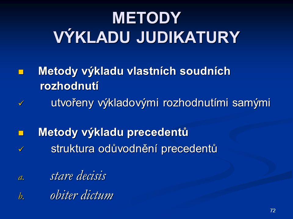 72 METODY VÝKLADU JUDIKATURY Metody výkladu vlastních soudních Metody výkladu vlastních soudních rozhodnutí rozhodnutí utvořeny výkladovými rozhodnutí