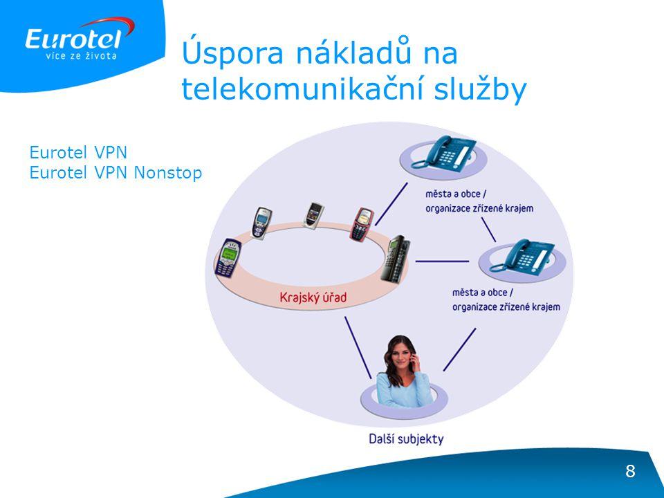 8 Úspora nákladů na telekomunikační služby Eurotel VPN Eurotel VPN Nonstop