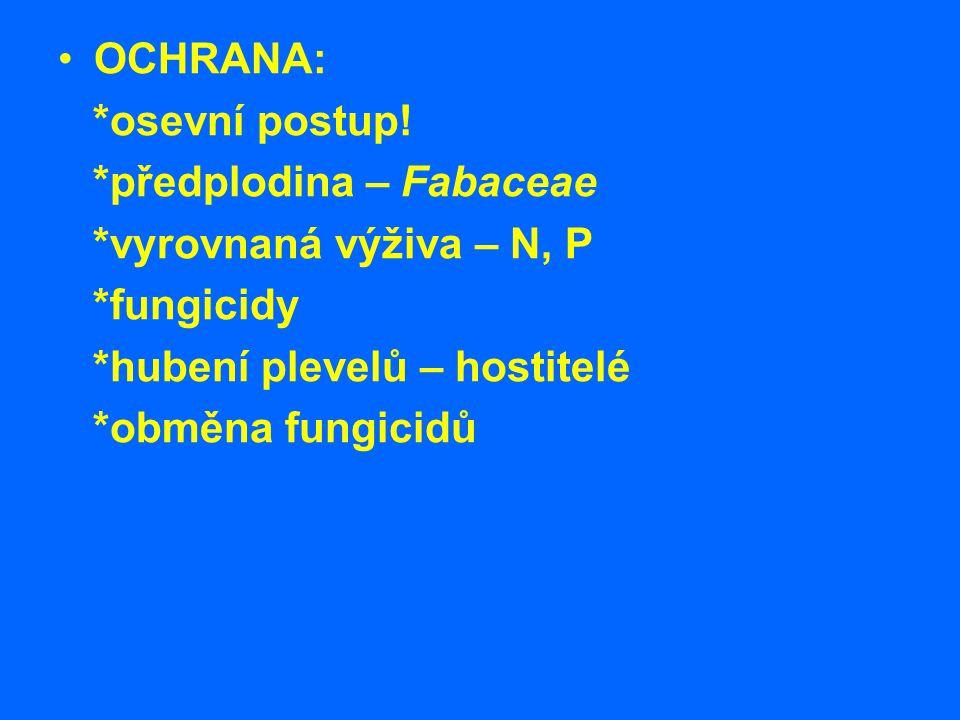 OCHRANA: *osevní postup! *předplodina – Fabaceae *vyrovnaná výživa – N, P *fungicidy *hubení plevelů – hostitelé *obměna fungicidů