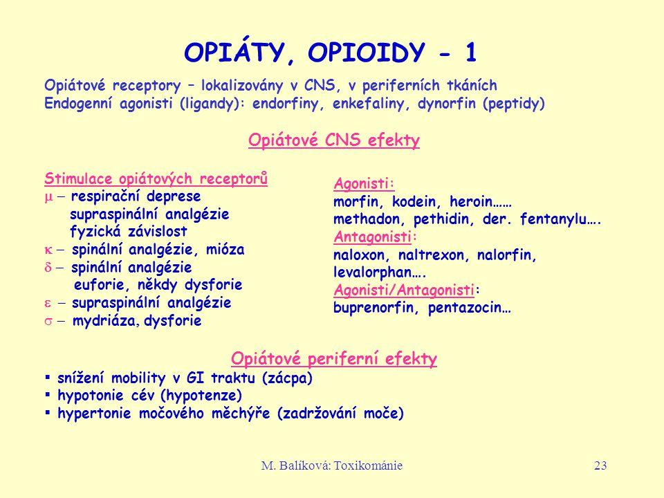 M. Balíková: Toxikománie23 OPIÁTY, OPIOIDY - 1 Opiátové receptory – lokalizovány v CNS, v periferních tkáních Endogenní agonisti (ligandy): endorfiny,