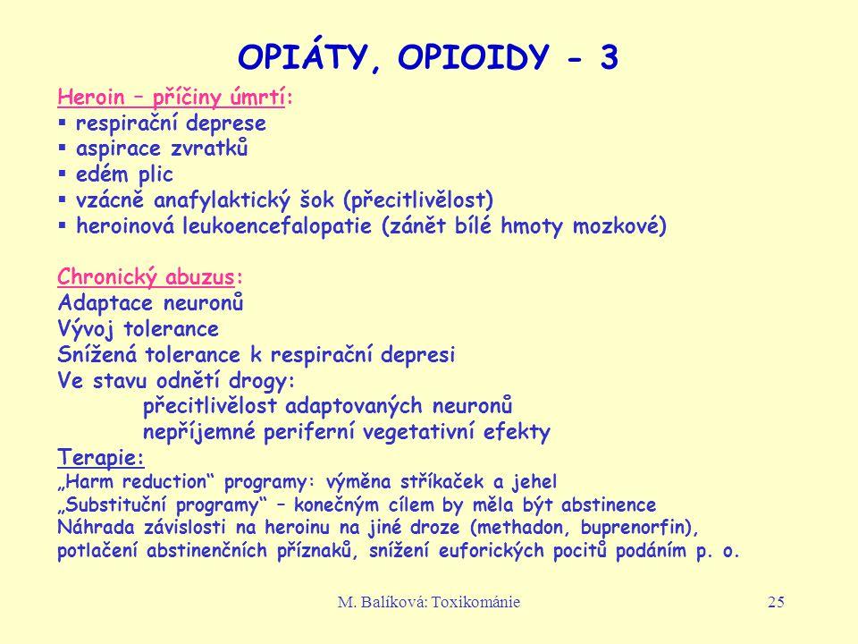 M. Balíková: Toxikománie25 OPIÁTY, OPIOIDY - 3 Heroin – příčiny úmrtí:  respirační deprese  aspirace zvratků  edém plic  vzácně anafylaktický šok