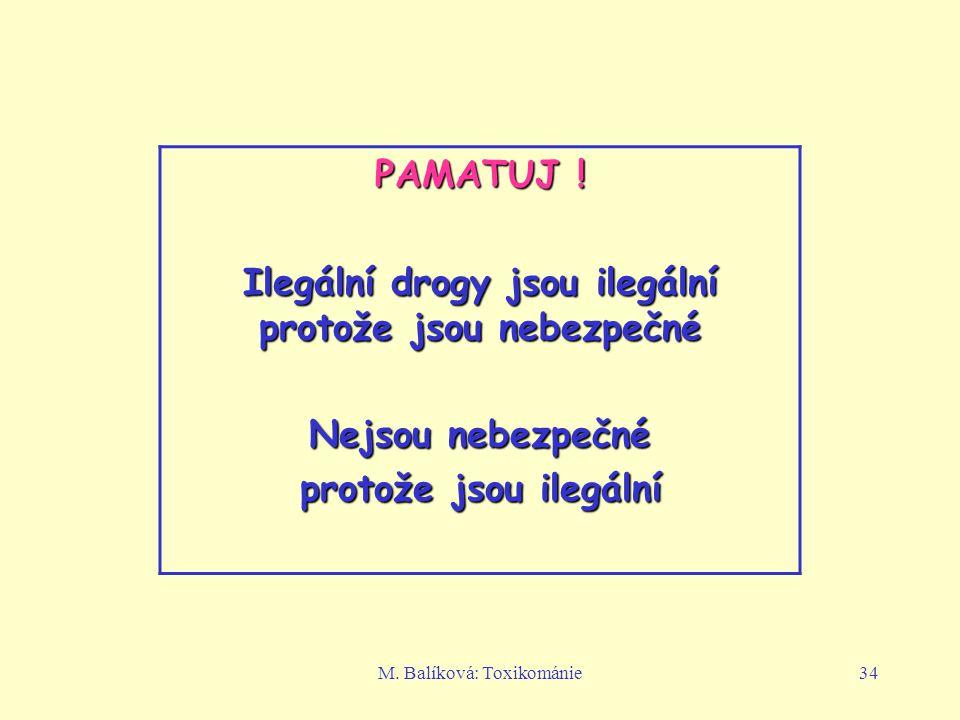 M.Balíková: Toxikománie34 PAMATUJ .