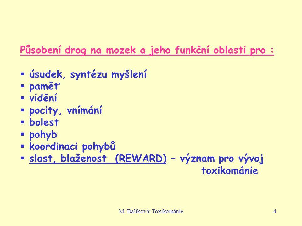 M. Balíková: Toxikománie4 Působení drog na mozek a jeho funkční oblasti pro :  úsudek, syntézu myšlení  paměť  vidění  pocity, vnímání  bolest 