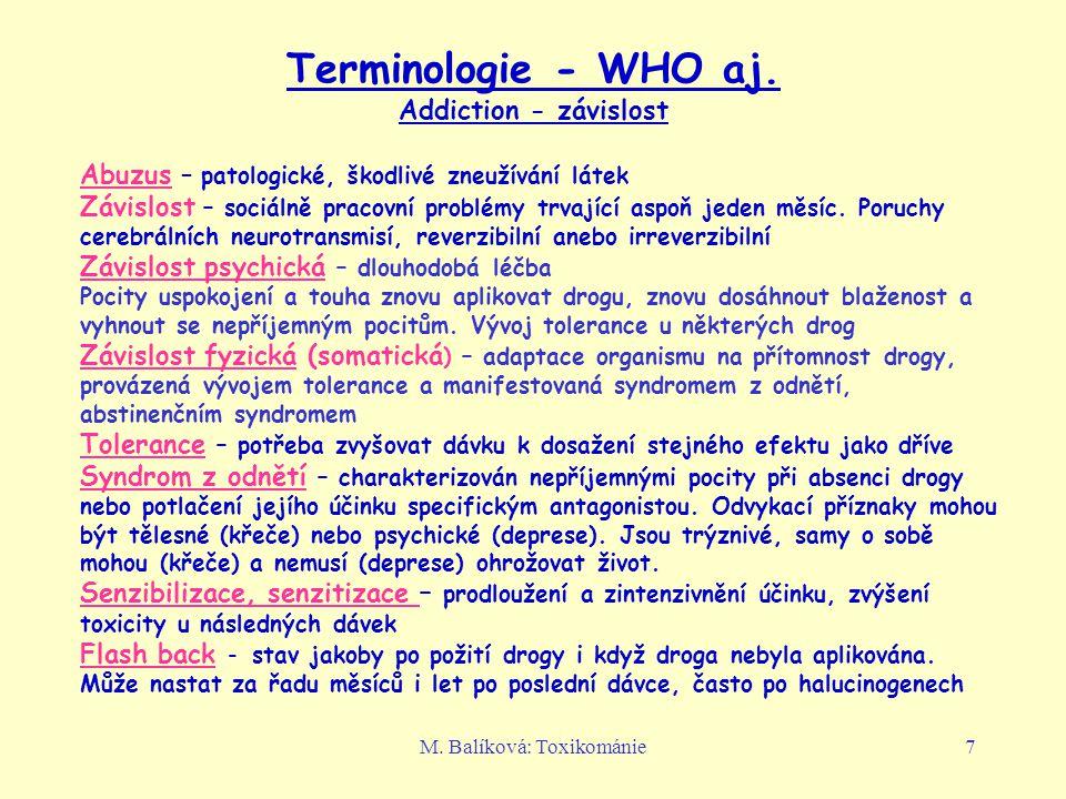 M.Balíková: Toxikománie7 Terminologie - WHO aj.