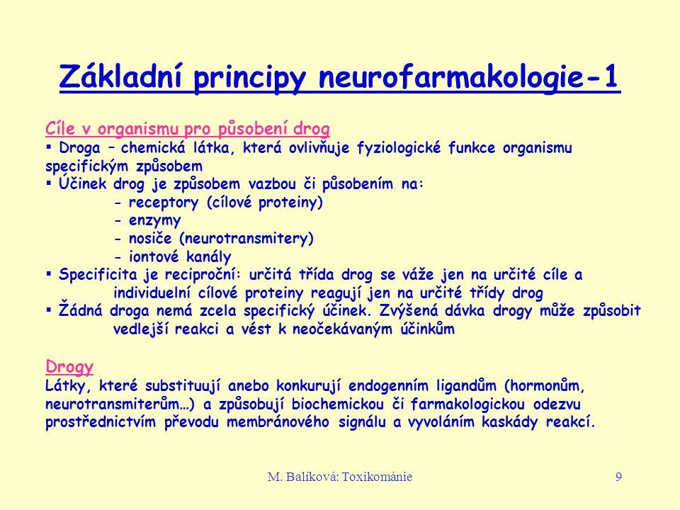 M. Balíková: Toxikománie9 Základní principy neurofarmakologie-1 Cíle v organismu pro působení drog  Droga – chemická látka, která ovlivňuje fyziologi