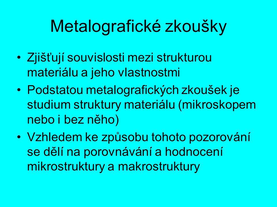 Metalografické zkoušky Zjišťují souvislosti mezi strukturou materiálu a jeho vlastnostmi Podstatou metalografických zkoušek je studium struktury mater