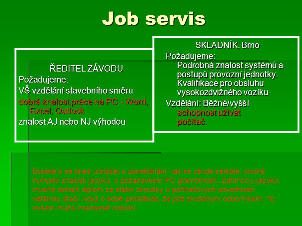 Job servis ŘEDITEL ZÁVODU Požadujeme: VŠ vzdělání stavebního směru dobrá znalost práce na PC - Word, Excel, Outlook znalost AJ nebo NJ výhodou SKLADNÍK, Brno Požadujeme: Podrobná znalost systémů a postupů provozní jednotky.