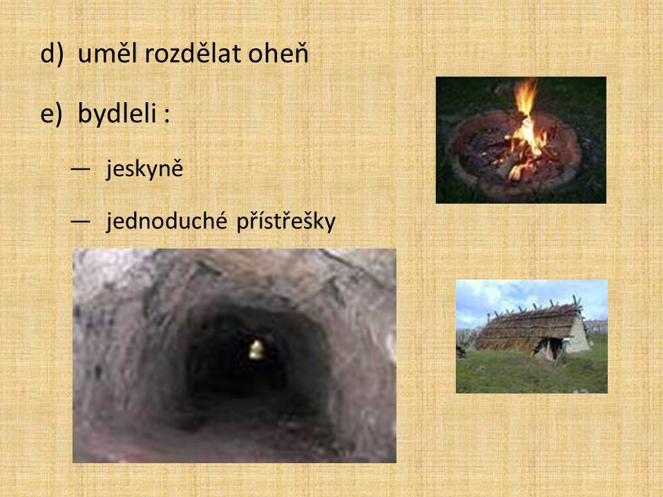 d)uměl rozdělat oheň e)bydleli : ―jeskyně ―jednoduché přístřešky