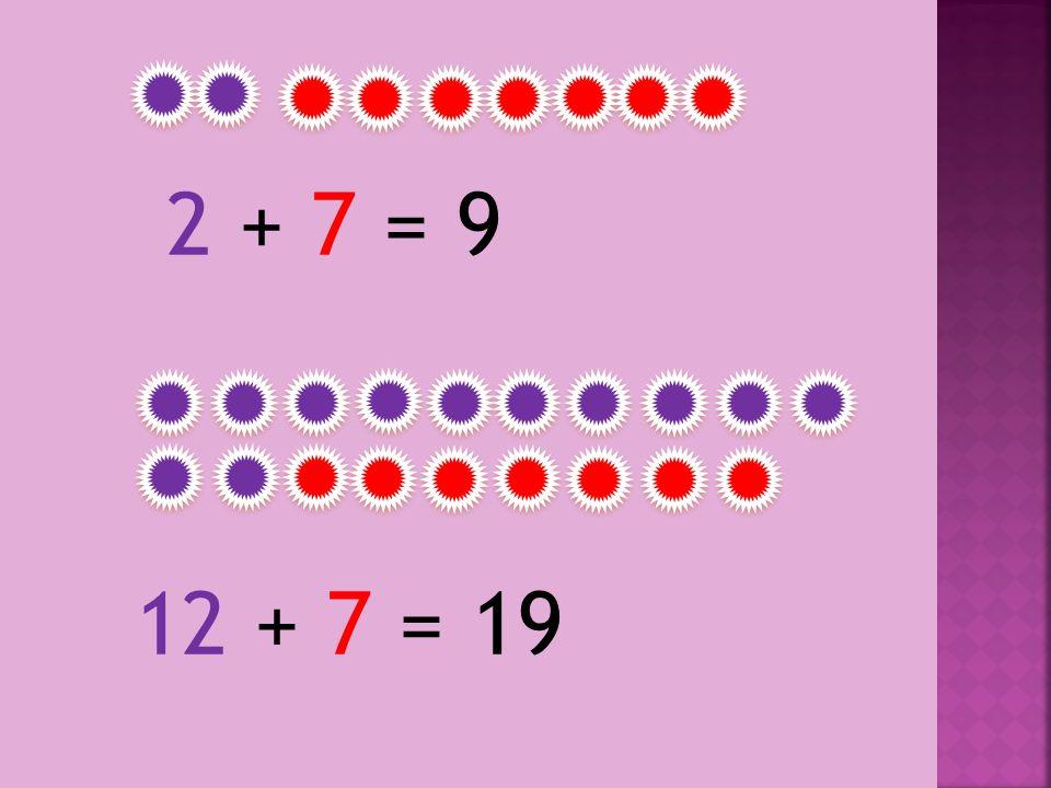 2 + 7 = 92 + 7 = 9 12 + 7 = 19