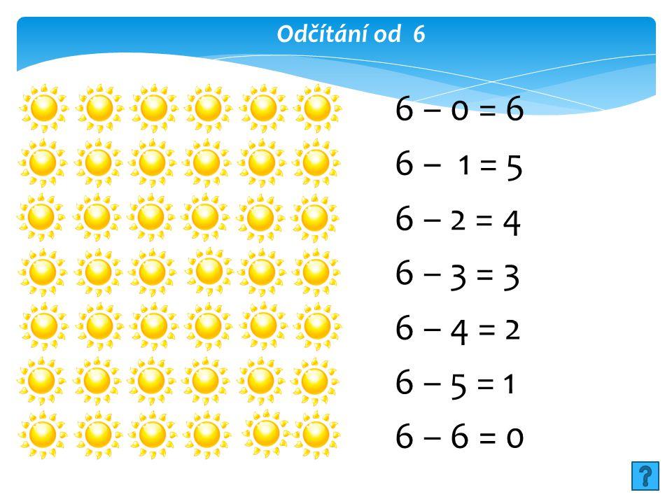 Odčítání od 6 6 – 0 = 6 6 – 1 = 5 6 – 2 = 4 6 – 3 = 3 6 – 4 = 2 6 – 5 = 1 6 – 6 = 0