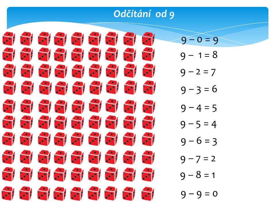 Odčítání od 9 9 – 0 = 9 9 – 1 = 8 9 – 2 = 7 9 – 3 = 6 9 – 4 = 5 9 – 5 = 4 9 – 6 = 3 9 – 7 = 2 9 – 8 = 1 9 – 9 = 0