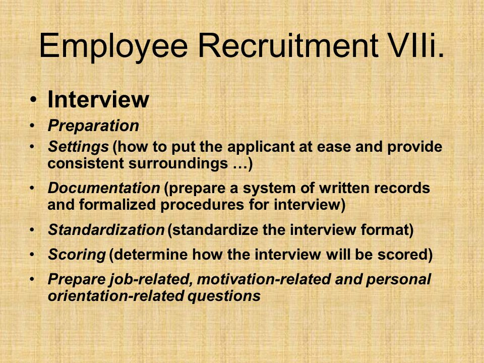 Employee Recruitment VIIi.
