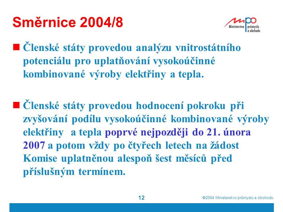  2004  Ministerstvo průmyslu a obchodu 12 Směrnice 2004/8 Členské státy provedou analýzu vnitrostátního potenciálu pro uplatňování vysokoúčinné kombinované výroby elektřiny a tepla.