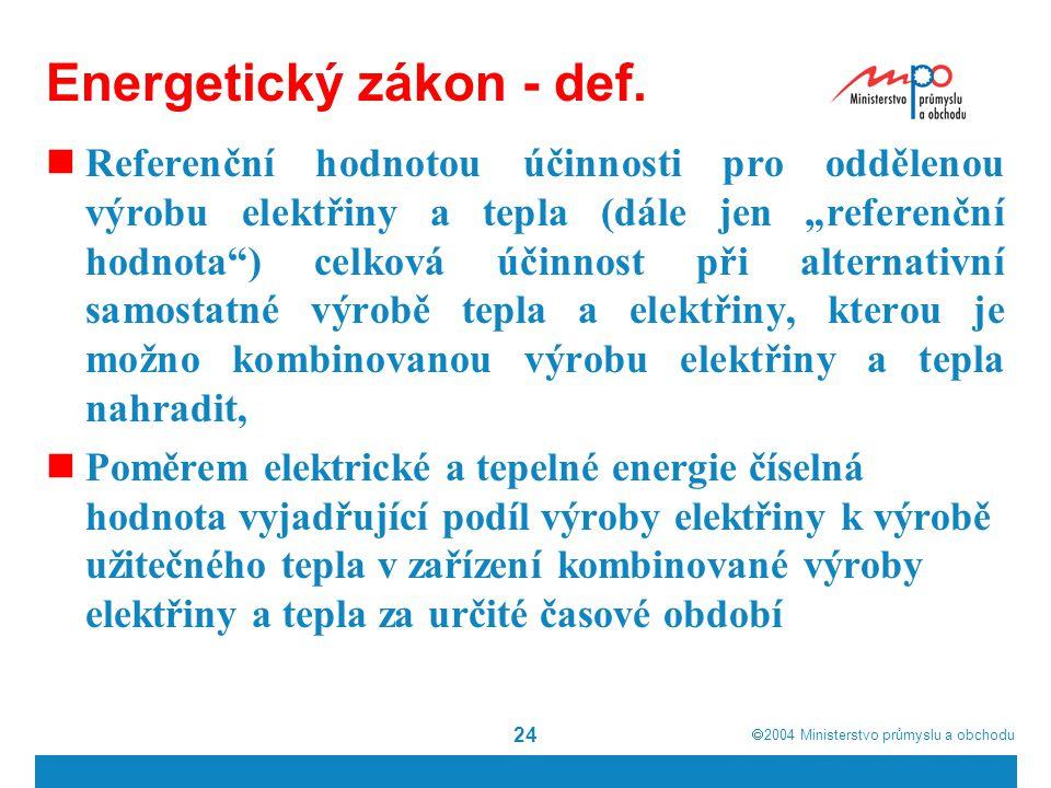 2004  Ministerstvo průmyslu a obchodu 24 Energetický zákon - def.