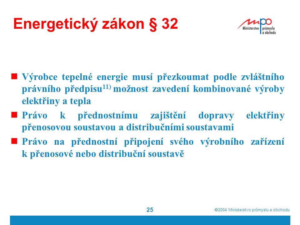  2004  Ministerstvo průmyslu a obchodu 25 Energetický zákon § 32 Výrobce tepelné energie musí přezkoumat podle zvláštního právního předpisu 11) mož