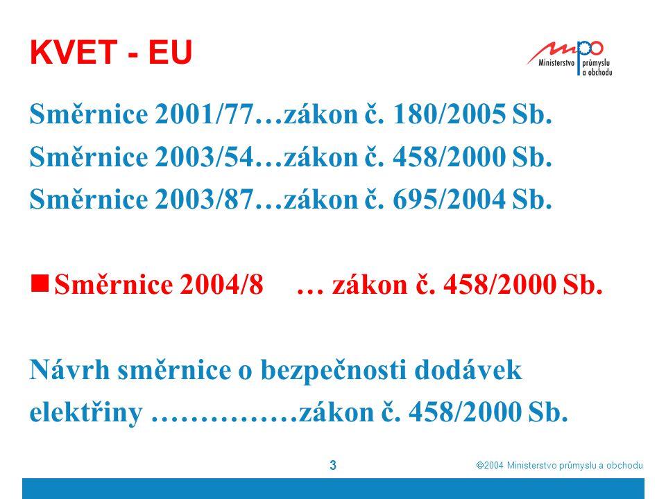  2004  Ministerstvo průmyslu a obchodu 3 KVET - EU Směrnice 2001/77…zákon č. 180/2005 Sb. Směrnice 2003/54…zákon č. 458/2000 Sb. Směrnice 2003/87…z