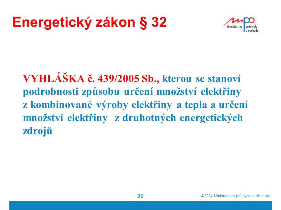  2004  Ministerstvo průmyslu a obchodu 30 Energetický zákon § 32 VYHLÁŠKA č. 439/2005 Sb., kterou se stanoví podrobnosti způsobu určení množství el