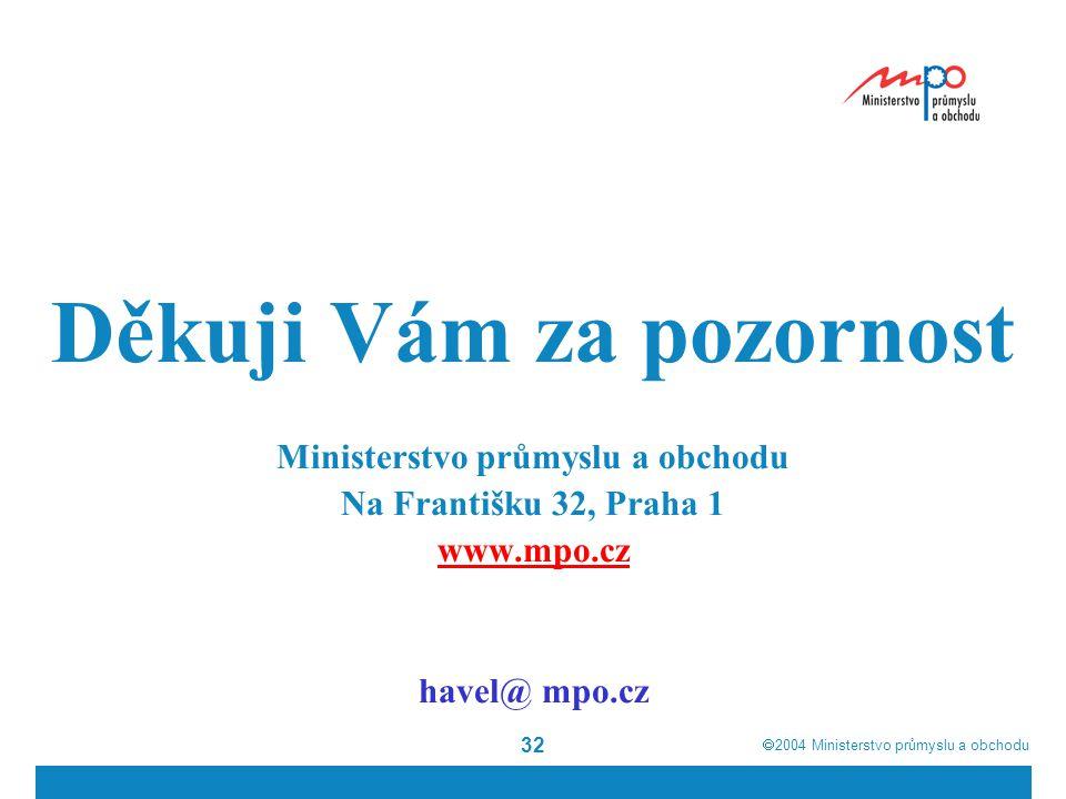  2004  Ministerstvo průmyslu a obchodu 32 Děkuji Vám za pozornost Ministerstvo průmyslu a obchodu Na Františku 32, Praha 1 www.mpo.cz havel@ mpo.cz