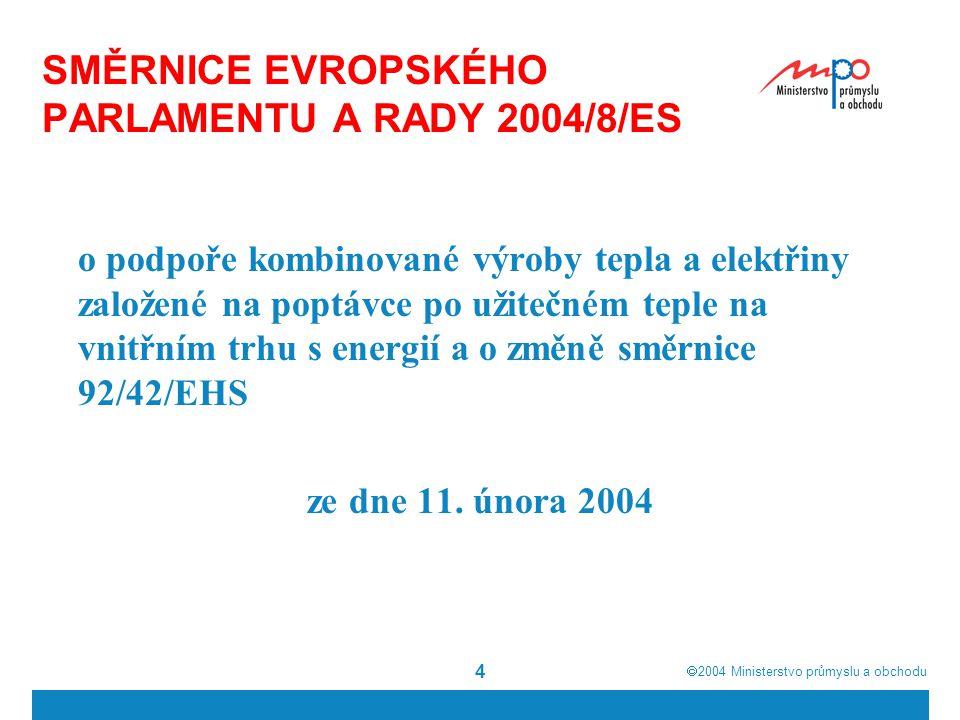  2004  Ministerstvo průmyslu a obchodu 4 SMĚRNICE EVROPSKÉHO PARLAMENTU A RADY 2004/8/ES o podpoře kombinované výroby tepla a elektřiny založené na poptávce po užitečném teple na vnitřním trhu s energií a o změně směrnice 92/42/EHS ze dne 11.