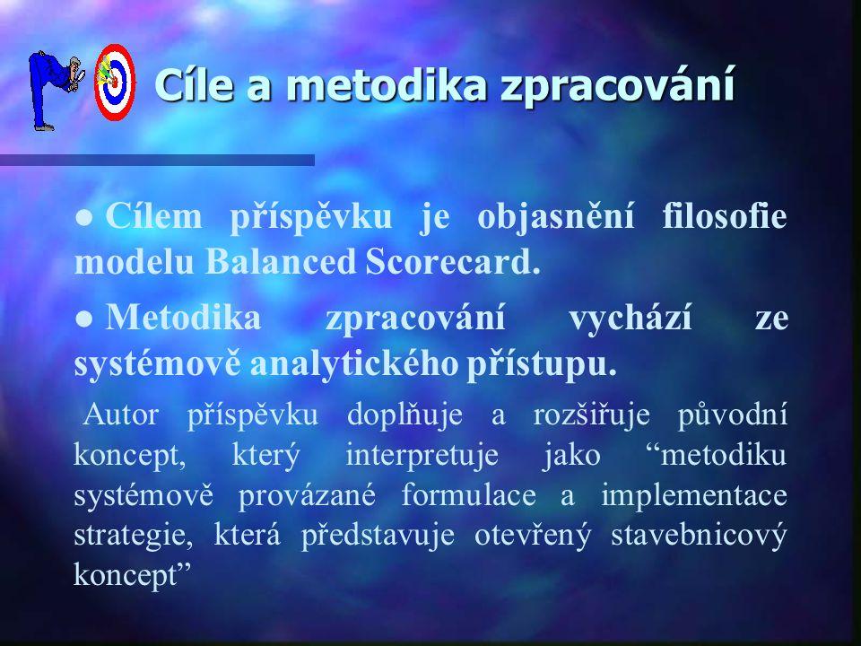 Cíle a metodika zpracování Cíle a metodika zpracování ll ll Cílem příspěvku je objasnění filosofie modelu Balanced Scorecard. ll ll Metodika zpracován