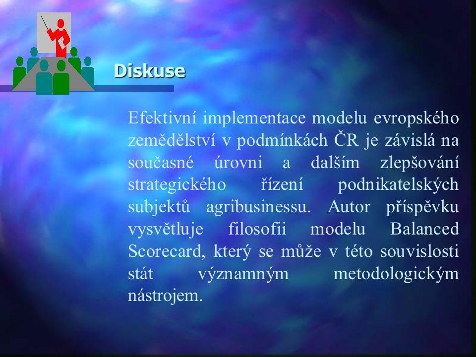 Diskuse Diskuse Efektivní implementace modelu evropského zemědělství v podmínkách ČR je závislá na současné úrovni a dalším zlepšování strategického ř